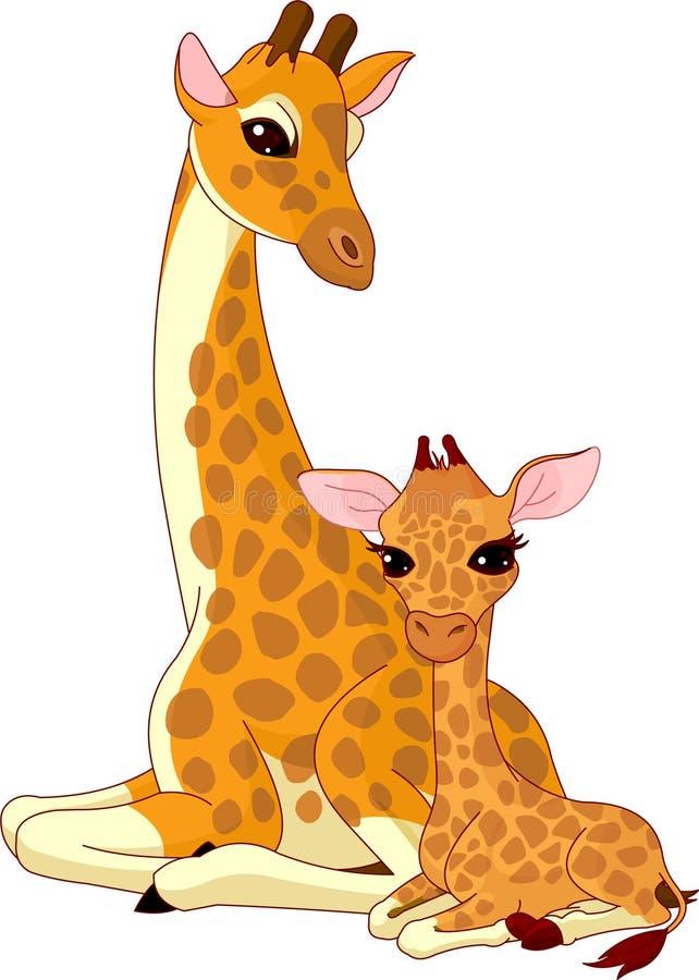 Moeder-giraf en baby-giraf vector illustratie