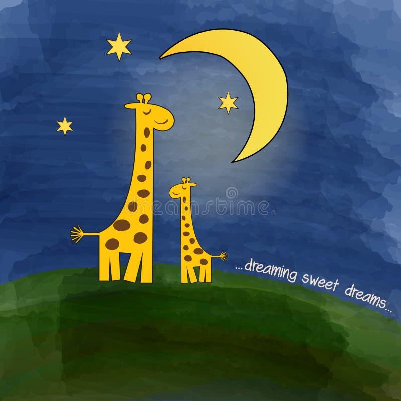 Moeder-giraf en baby-giraf bij nacht stock illustratie