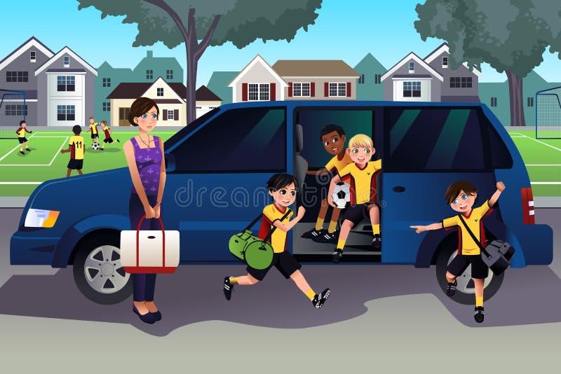 Moeder het drijven jonge geitjes aan voetbalpraktijk royalty-vrije illustratie
