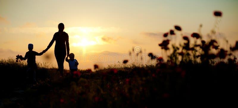 Moeder, kinderen, familie, overzees, zonsondergang, bloemen, de lente, mooi silhouet, vrouwen stock fotografie