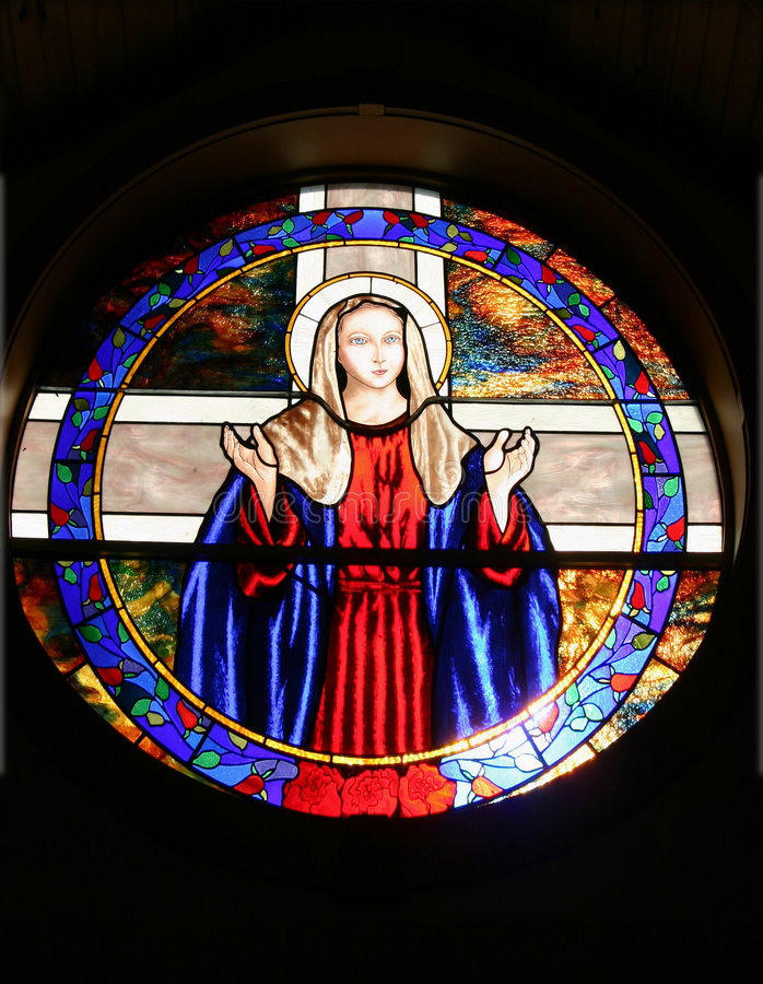 Moeder Mary Church Window royalty-vrije stock afbeeldingen