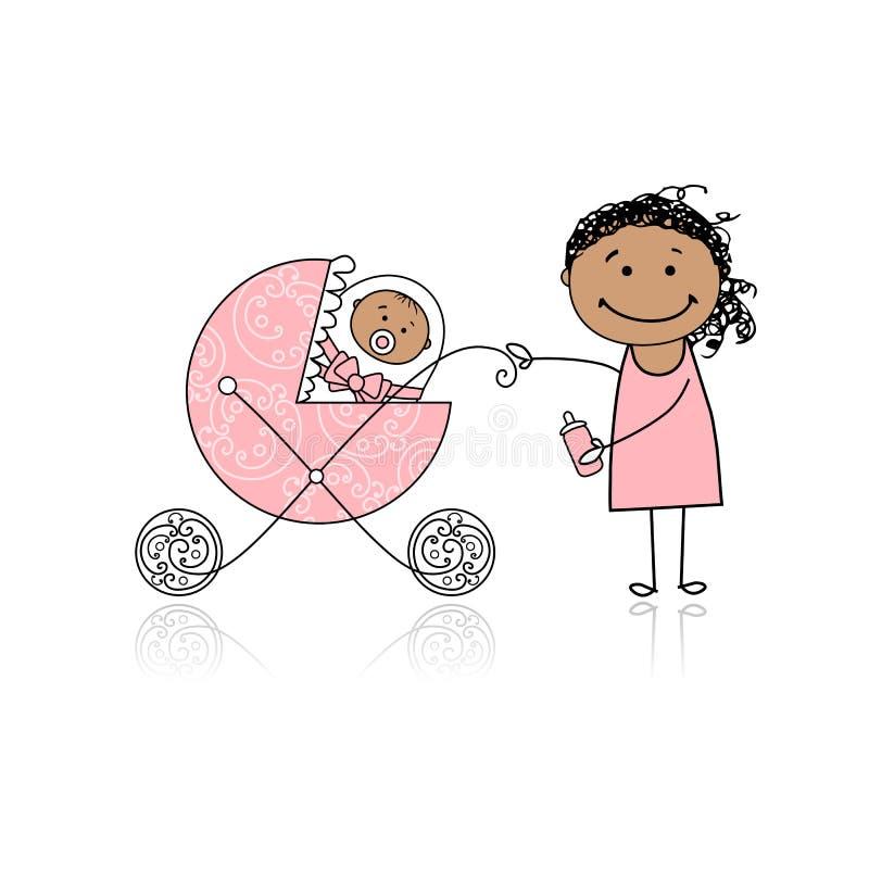 Moeder met baby in lopen het met fouten stock illustratie