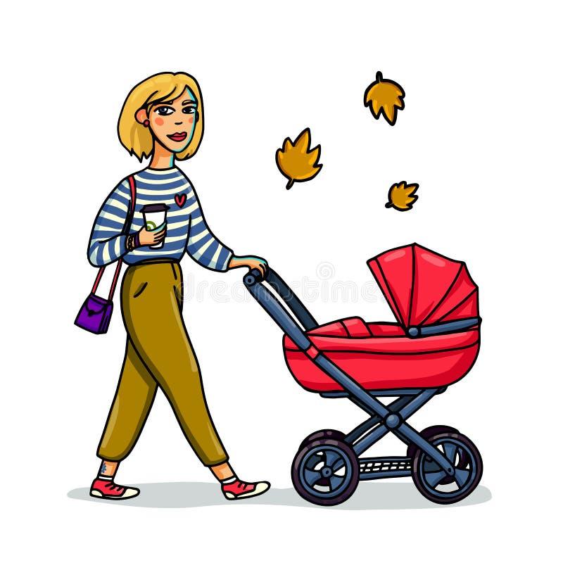 Moeder met baby in wandelwagen Jonge modieuze vrouw die met kinderwagen lopen Het meisjesgang van de beeldverhaalstijl met baby i stock illustratie