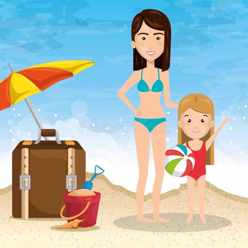 Moeder met dochter op het strand stock illustratie