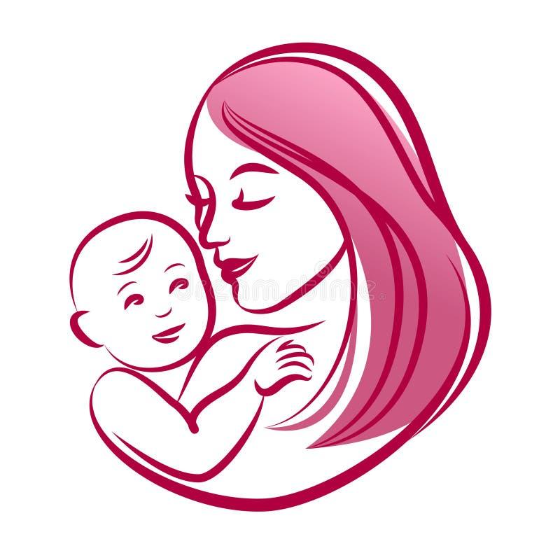 Moeder met haar baby, overzichts vectorsilhouet royalty-vrije illustratie