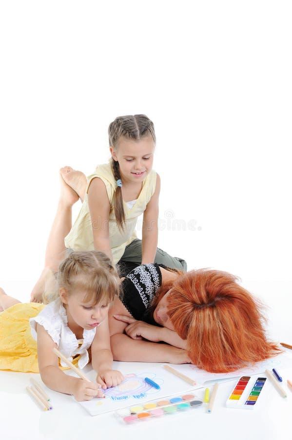 Moeder met haar dochters. stock afbeeldingen