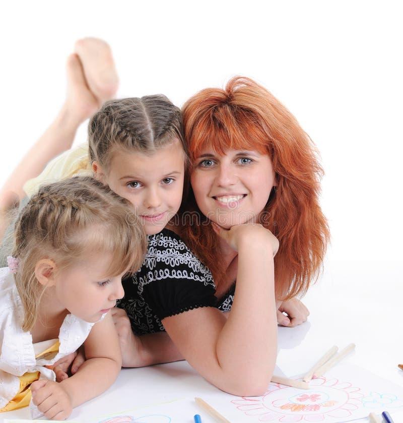 Moeder met haar dochters. royalty-vrije stock foto's