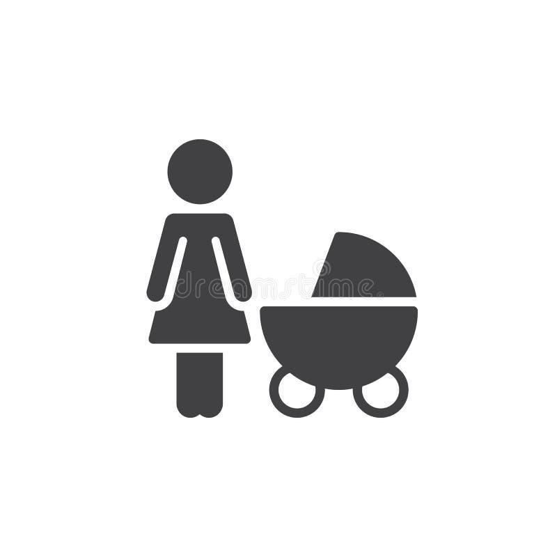 Moeder met het pictogram vector, gevuld vlak teken van de babykinderwagen, stevig die pictogram op wit wordt geïsoleerd stock illustratie