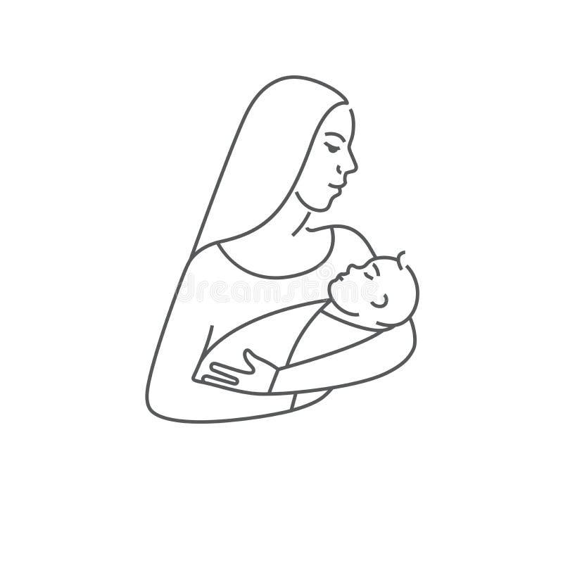 Moeder met kind in haar wapens Lijn vectorpictogram of embleem van pasgeboren baby met moeder Symbool van moederschap vector illustratie
