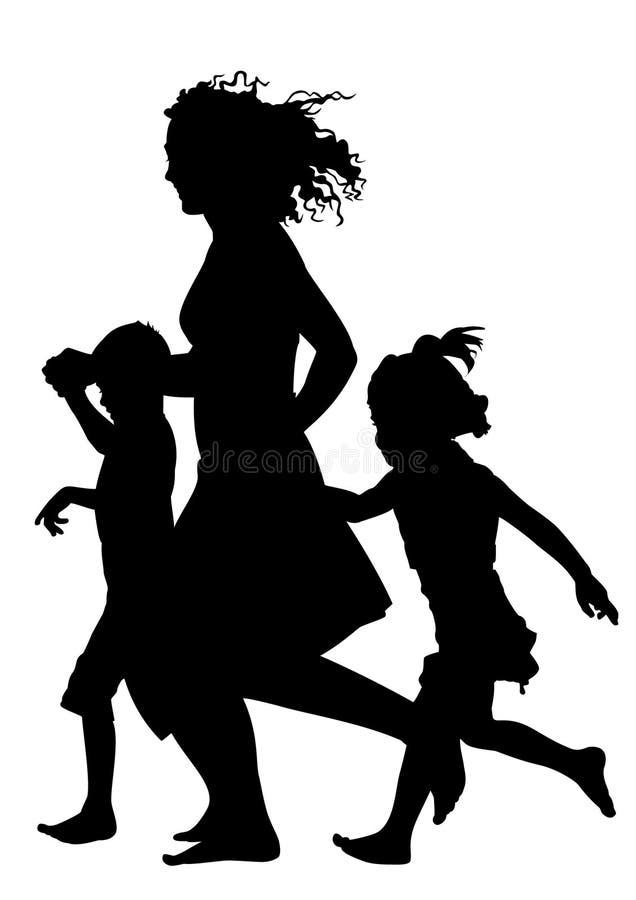 Moeder met kinderen die silhouetvector in werking stellen vector illustratie