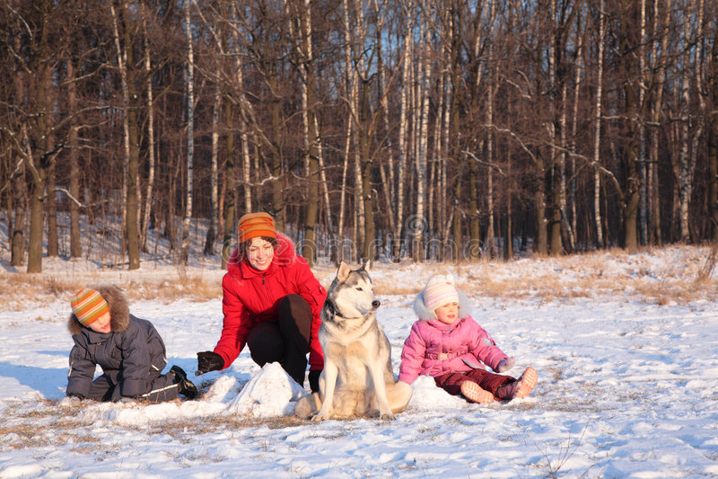 Moeder met kinderen en hond in de winter stock afbeelding