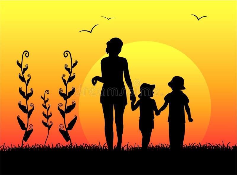 Moeder met kinderensilhouet stock illustratie