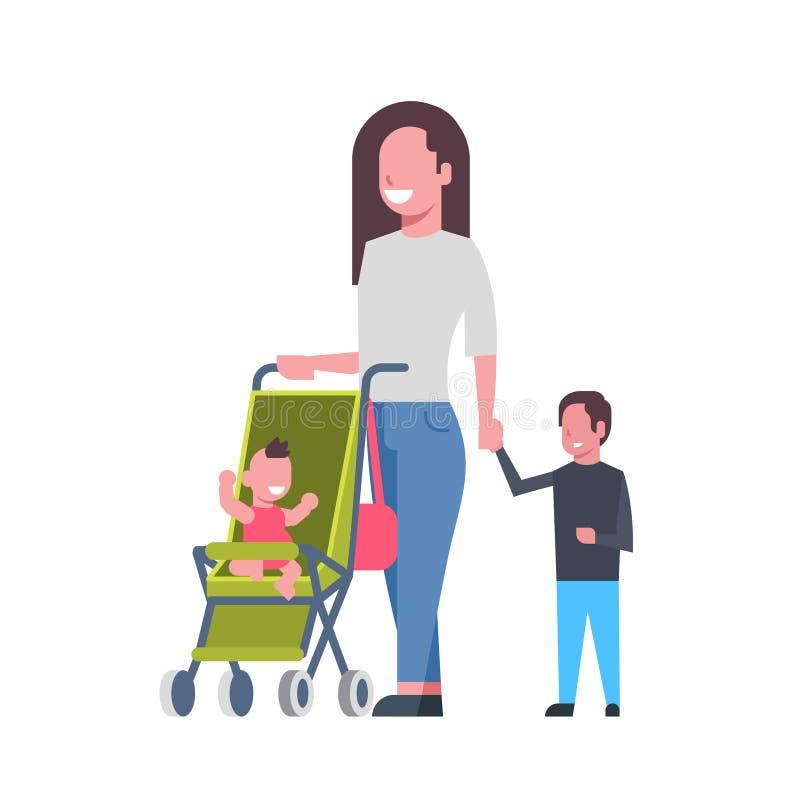 Moeder met nieuw - geboren babykinderen in avatar van de wandelwagen volledige lengte op witte achtergrond, succesvol vlak famili royalty-vrije illustratie