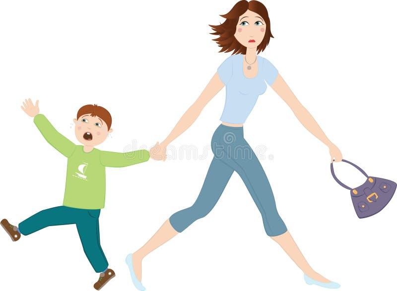 Moeder met schreeuwende zoon vector illustratie