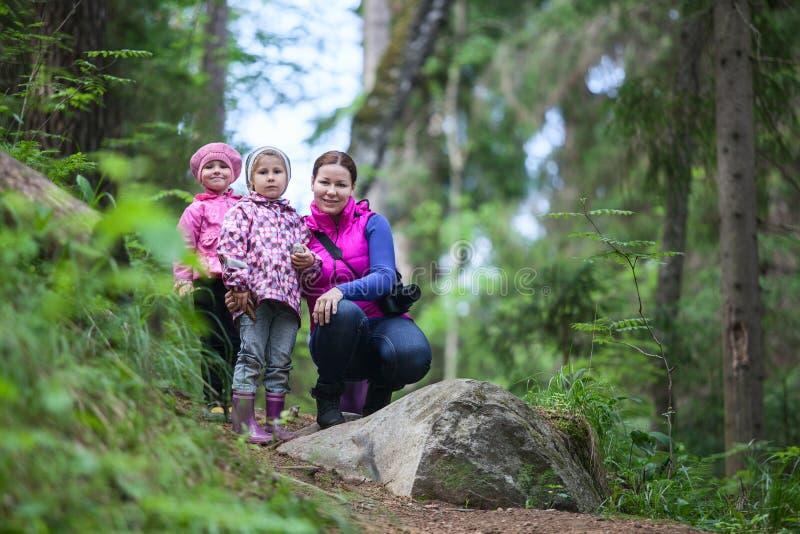 Moeder met twee kleine tweelingendochters die in bos lopen stock foto's