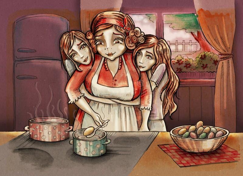 Moeder met tweelingdochters stock illustratie