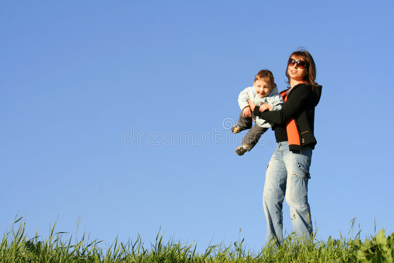 Moeder met zoon stock fotografie