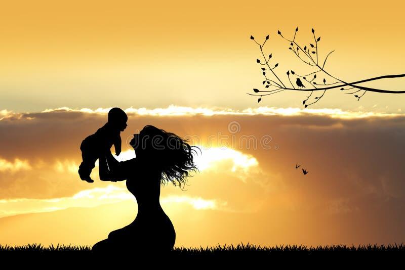 Moeder met zoon bij zonsondergang stock illustratie