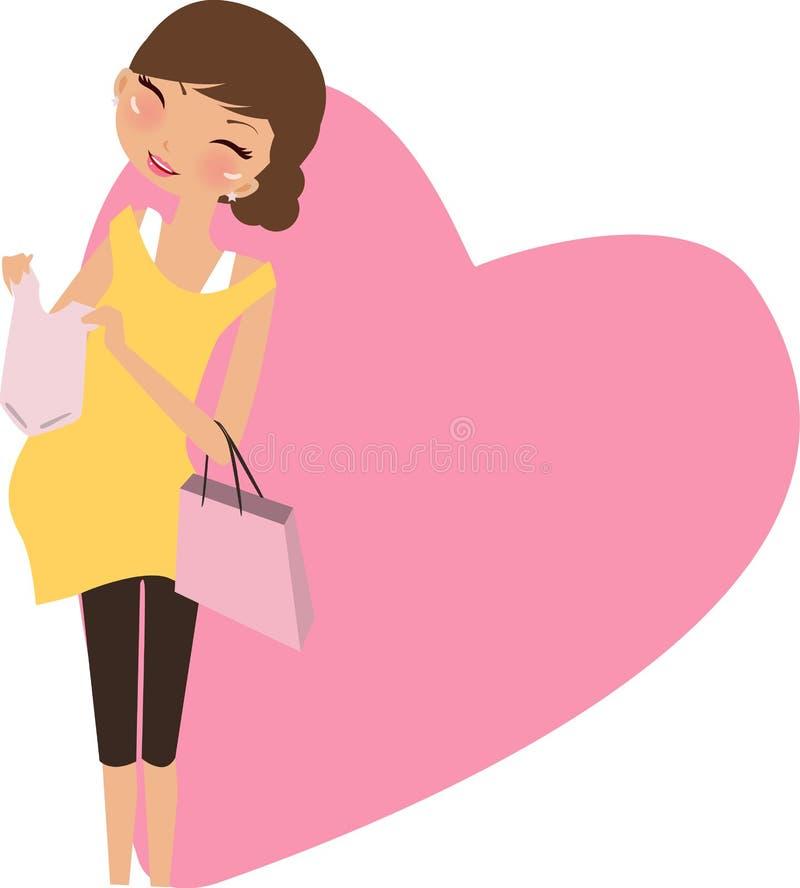Moeder om te zijn, zwangere vrouw vector illustratie
