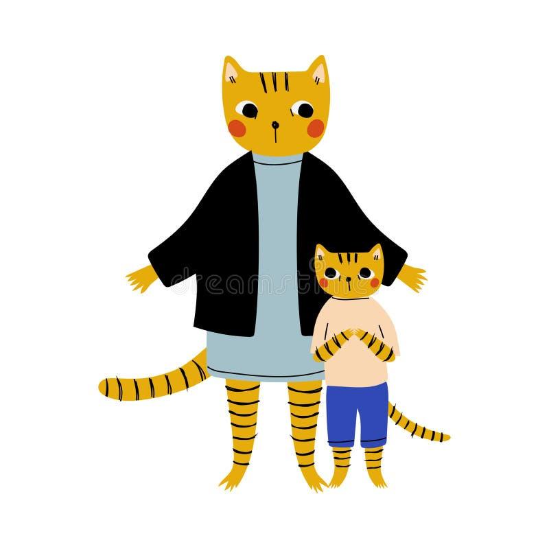 Moeder Tiger en haar kind, liefhebbende ouderdieren en aangename kinderen Gehumaniseerde Karakters Vector Illustratie vector illustratie