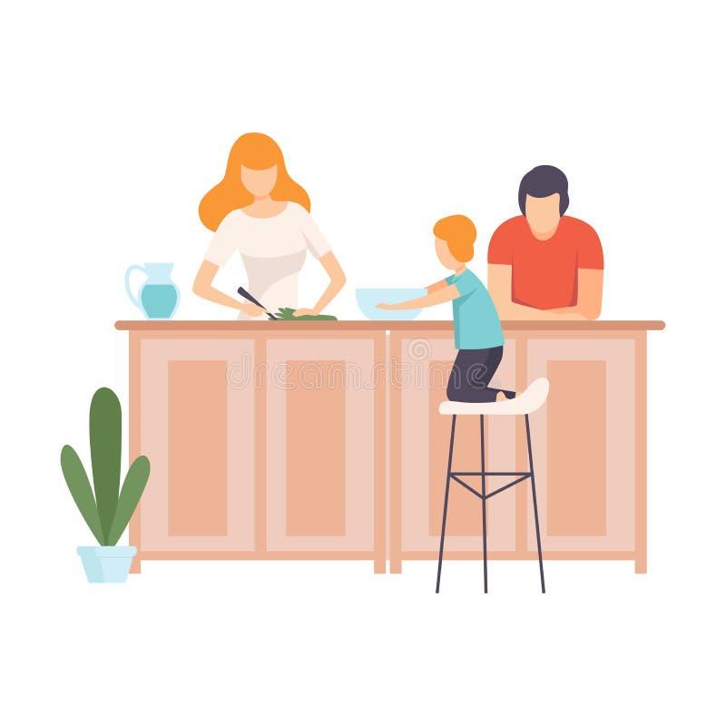 Moeder, Vader en Zoons Kokend Voedsel in de Keuken samen, Familie in Dagelijkse het Levens thuis Vectorillustratie vector illustratie