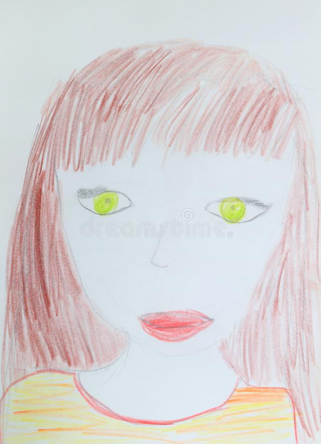 moeder Vrouw met groene ogen en bruin haar Kinderen` s tekening Potloodbeeld royalty-vrije stock fotografie