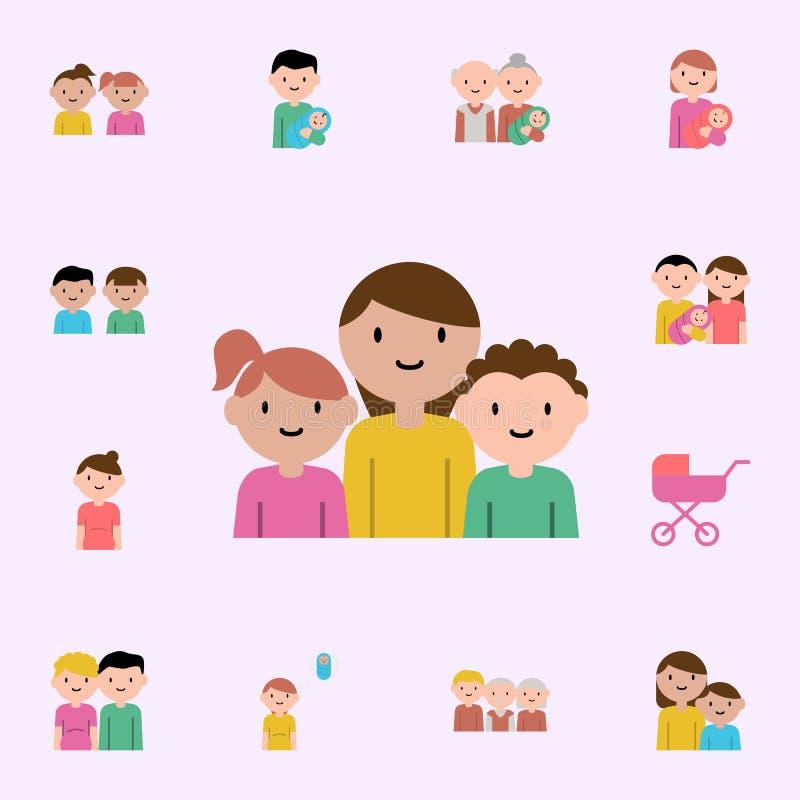 moeder, zoon, het pictogram van het dochterbeeldverhaal Voor Web wordt geplaatst dat en het mobiele algemene begrip van familiepi stock illustratie