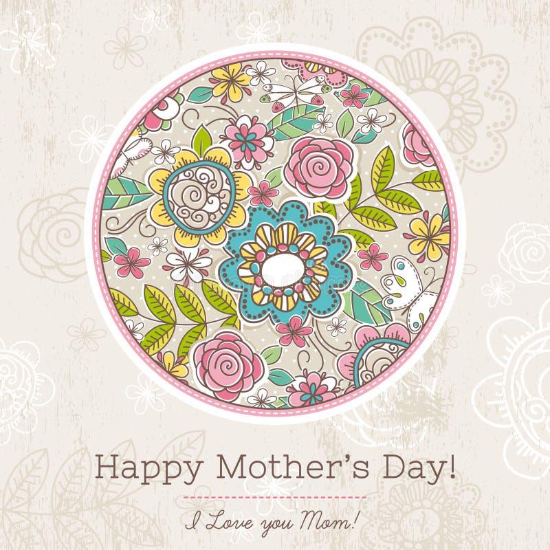 Moederdagkaart met grote ronde van de lentebloemen, vector royalty-vrije illustratie