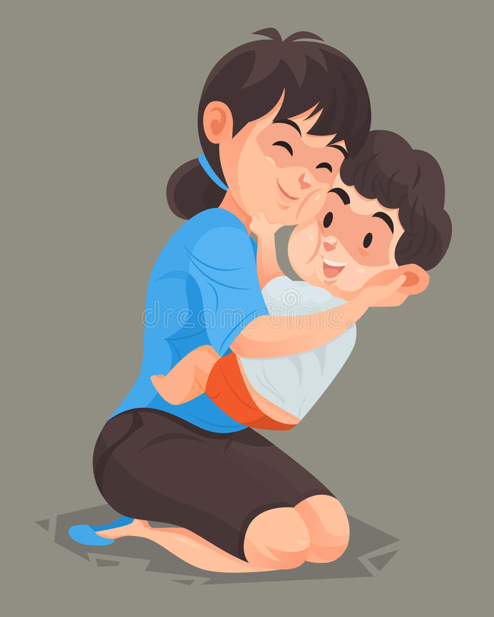Moederomhelzing haar zoon stock illustratie