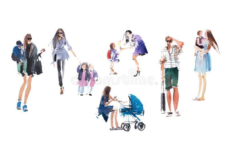 Moeders, kinderen die openlucht de activiteitenvakantie van de Mensenzomer, de illustratie van de vakantiewaterverf lopen stock fotografie