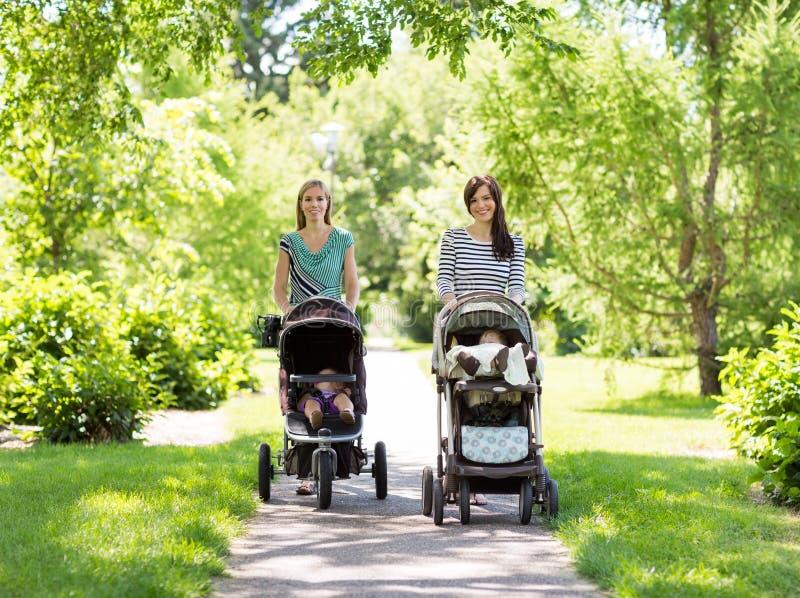 Moeders met Babywandelwagens die in Park lopen stock afbeelding