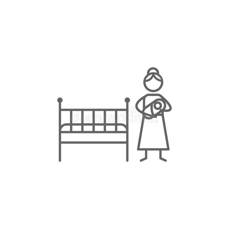 Moederschap, baby, slaappictogram Element van gezinslevenpictogram Dun lijnpictogram voor websiteontwerp en ontwikkeling, app ont royalty-vrije illustratie
