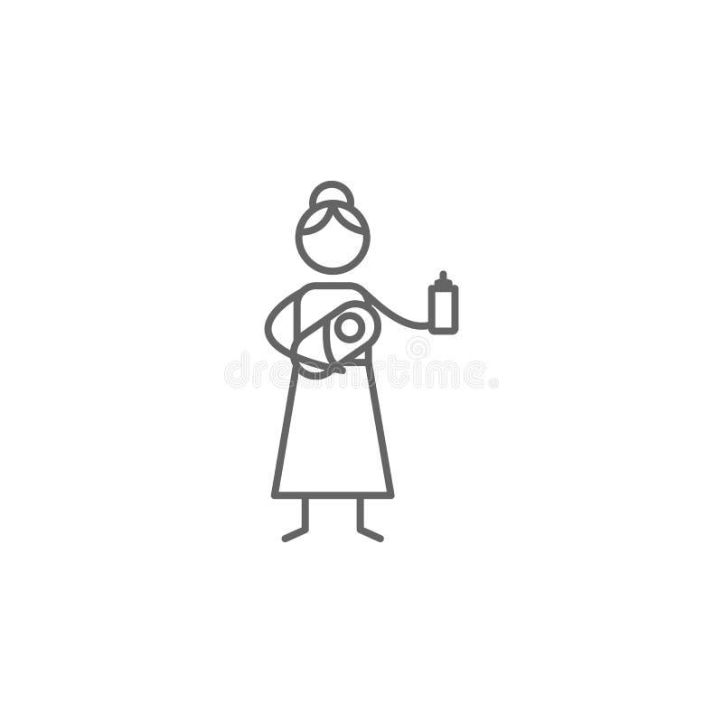 Moederschap, baby, voerpictogram Element van gezinslevenpictogram Dun lijnpictogram voor websiteontwerp en ontwikkeling, app ontw royalty-vrije illustratie