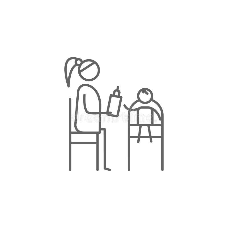 Moederschap, voer, babypictogram Element van gezinslevenpictogram Dun lijnpictogram voor websiteontwerp en ontwikkeling, app ontw royalty-vrije illustratie