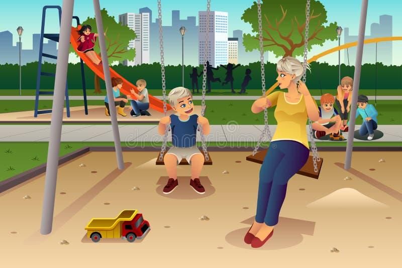 Moederzoon het Spelen op Schommeling stock illustratie