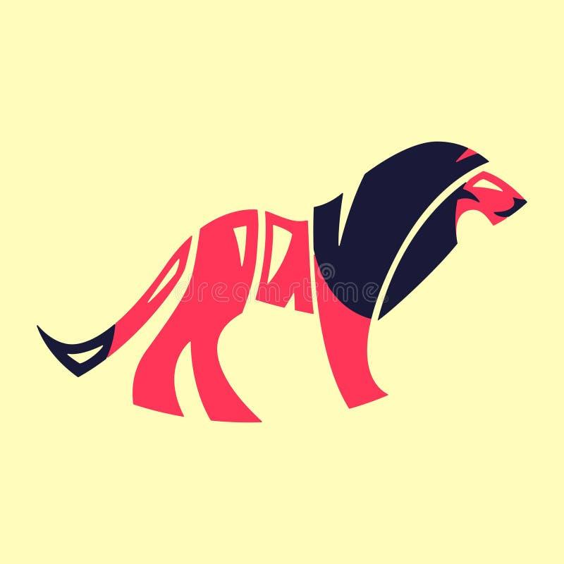 moedig Het beeld van het typografiewoord als leeuwbeeld De hand voorzag typografieillustratie, omslagtekst binnen een vorm van le vector illustratie