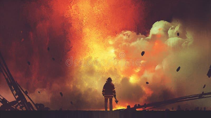 Moedige brandbestrijder die de explosie onder ogen zien royalty-vrije illustratie