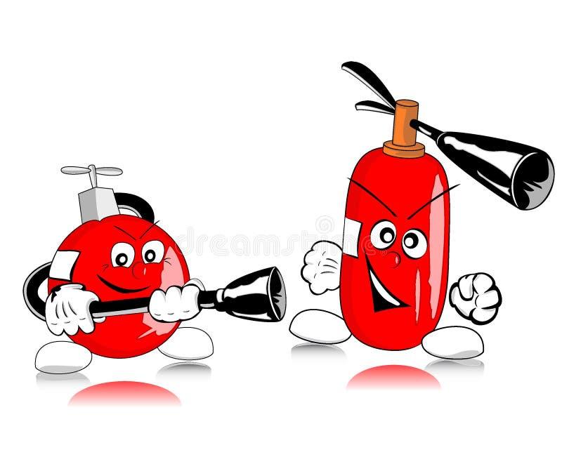 Moedige brandblusapparaten stock illustratie