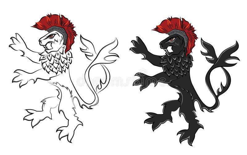 Moedige het silhouetillustratie van de leeuwstrijder vector illustratie