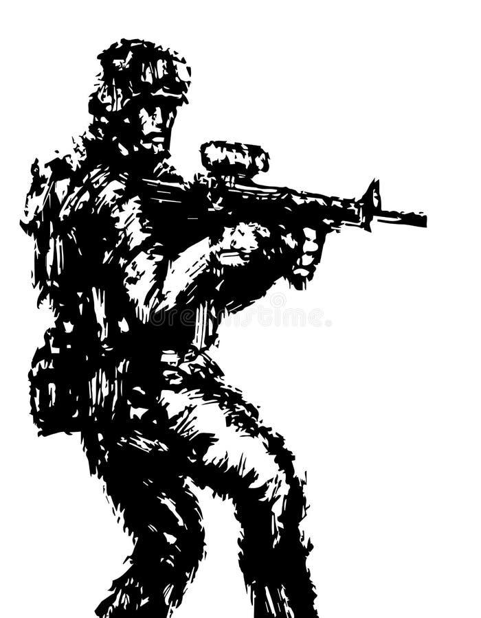 Moedige militair met geweer in actie Vector illustratie royalty-vrije illustratie