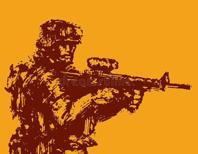 Moedige militair met geweer in actie Vector illustratie vector illustratie