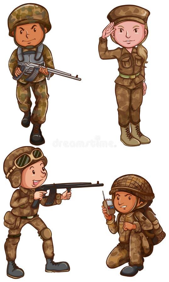 Moedige militairen stock illustratie