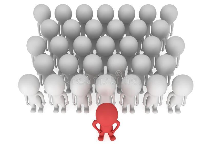 Moedige rode leider vóór een menigte vector illustratie