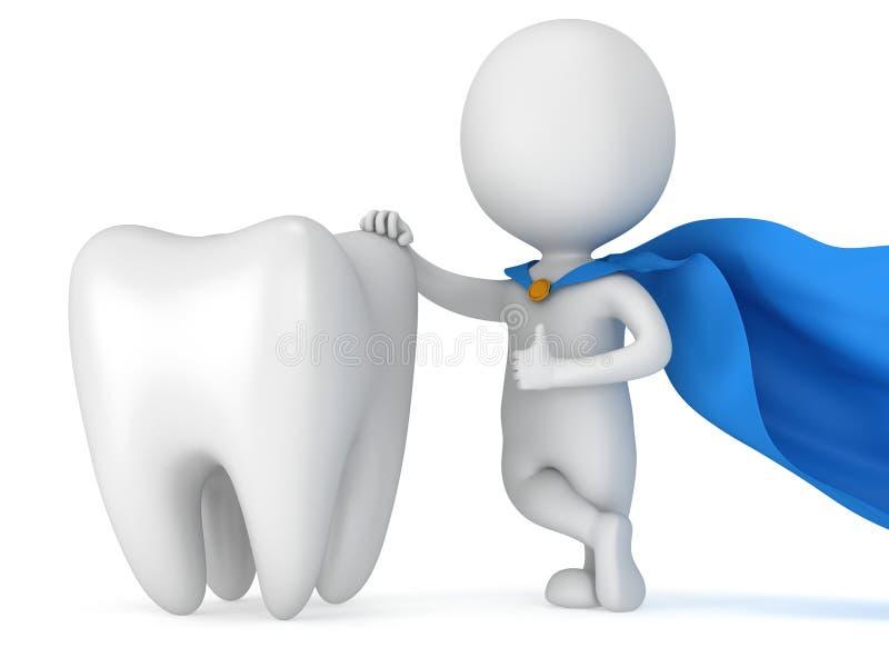 Moedige superherotandarts met grote witte tand stock illustratie