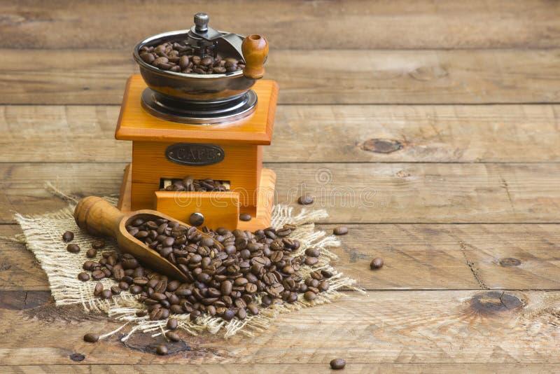 Moedor de café com os feijões de café roasted imagem de stock royalty free