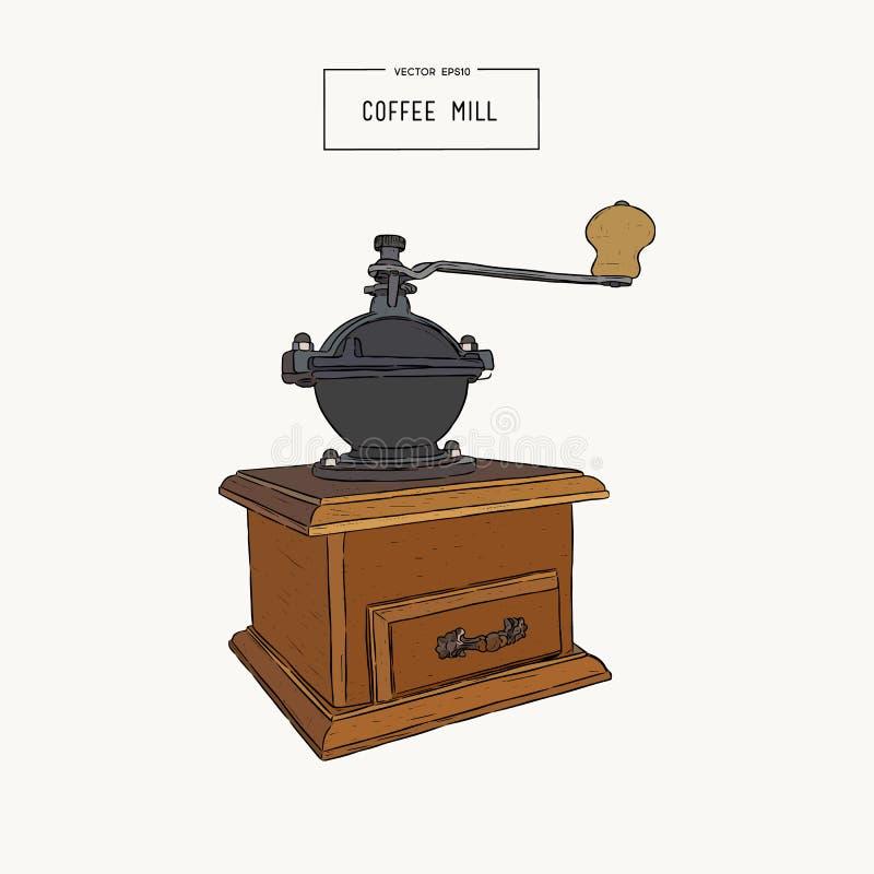 Moedor de café do vintage Estilo tirado mão do esboço Moinho de café ilustração stock