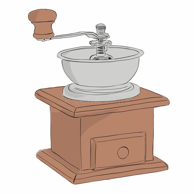 Moedor de café manual ilustração stock
