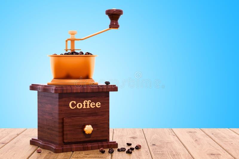 Moedor de café manual retro na tabela de madeira, rendição 3D ilustração royalty free