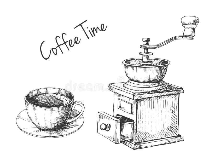 Moedor de café manual retro ou moinho e caneca com esboço do café no estilo do vintage ilustração do vetor
