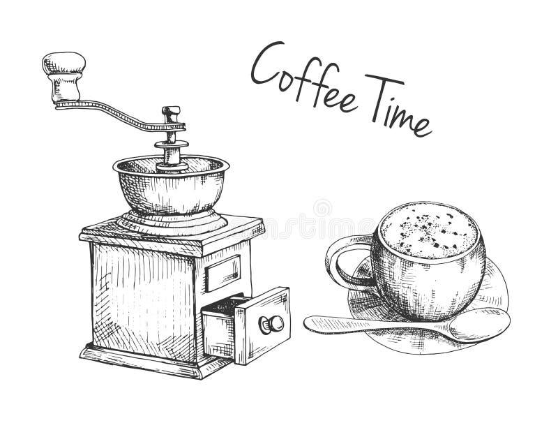 Moedor de café manual retro ou moinho e caneca com esboço do café no estilo do vintage ilustração stock